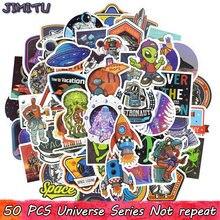 Juguetes de pegatinas universales para niños, pegatinas creativas de ciencia, OVNI, Alien, nave espacial, para álbum de recortes, equipaje para portátil, 50 Uds.
