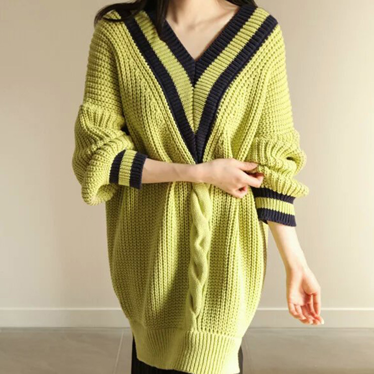 Green White Oversize Long Sweater Preppy V Neck Jumper Girl Thick Long Sleeve Knitwear Loose Lady Winter Warm Pullover Top