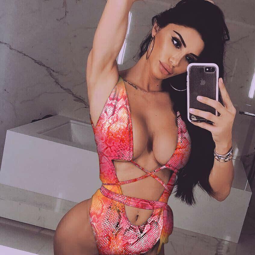 2019 New Sexy Women Girls One-Piece Leopard Printed Swimsuit Bandage Monokini Beachwear Swimwear Summer Bikini Bathing suit-1