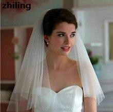 Простой Два Слоя Фата Мягкий Тюль Свадебные С Расческой Короткие На Свадьбу