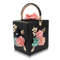 Women Evening Bag Fashion Squared Box Design Ladies Flower Handbag For Wedding Female Clutch Shoulder Messenger Bags For Women