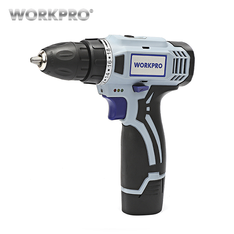 WORKPRO Household Electric Cordless Drill 12V Lithium-Ion Battery Cordless Drill DIY Wireless Electric Drill Power Driver Drill цена