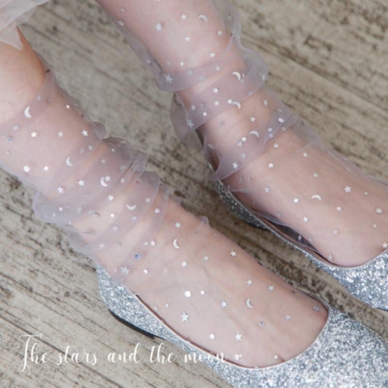 Sexy Lace Mesh Fishnet   Socks   Mixed Fiber Transparent Stretch Elasticity Ankle Net Yarn Thin Women Cool   Socks   1pair=2pcs tt93xyy