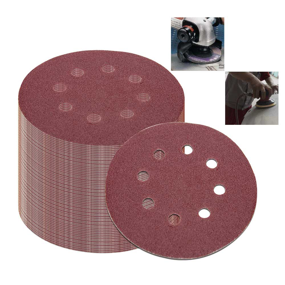 Round Sandpaper Eight Hole Disk Sand Sheets 50Pcs 5 Inch 125Mm ​Grit 40/60/80/120/240 Hook And Loop Sanding Disc Polish