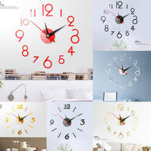 Modern DIY Large Wall Clock 3D Mirror Surface Sticker Home Decor Art Design New(China)