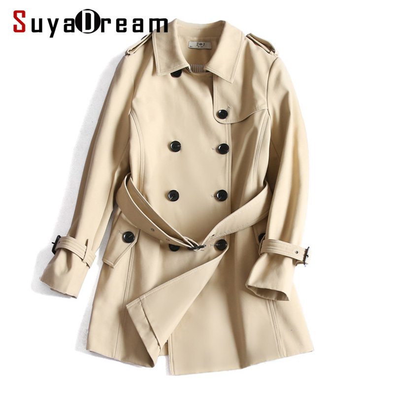 Women   Trench   100%Cotton Belted Double Breasted   Trench   coat 2019 Spring New Khaki Navy Epaulet   Trench   For Women
