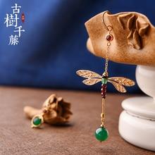 Винтажные серьги асимметричные длинные серьги с зеленым камнем в виде стрекозы для женщин Висячие серьги в виде капель этнические модные ювелирные изделия