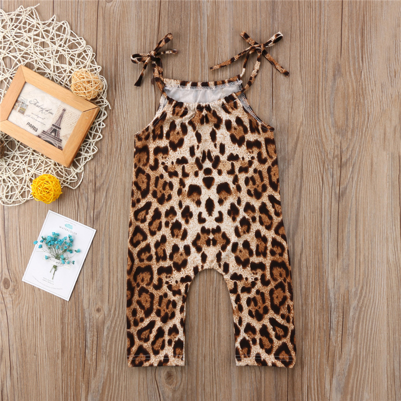 Baby Girl Leopard Print   Romper   Cute Suspenders Braces Sleeveless   Romper   2019 Newest Summer Jumpsuit Hot Sale Baby Girls Clothing