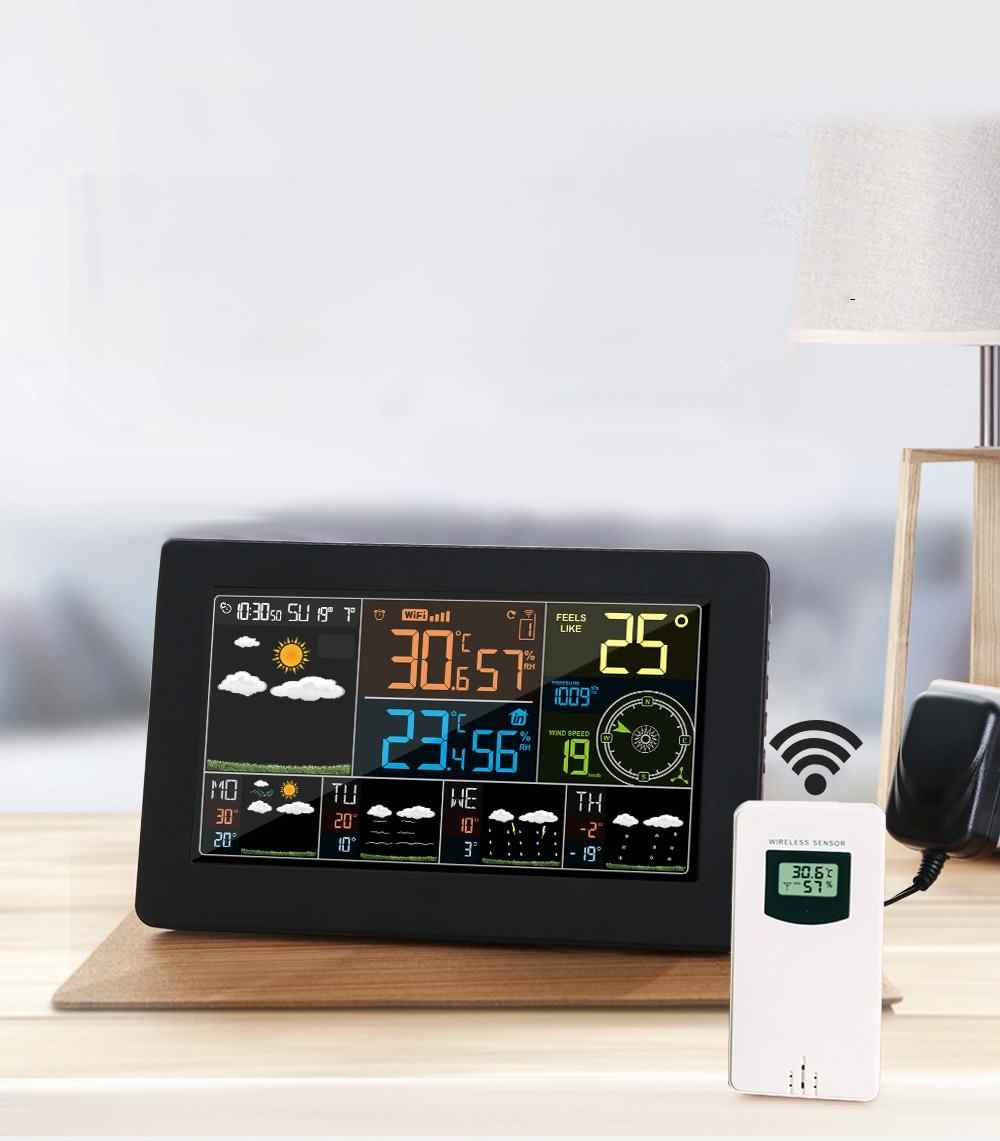 Wifi Wetter Station Wand Digitale Wecker Thermometer Hygrometer Zukunft Wetter Prognose Wind Richtung Barometer