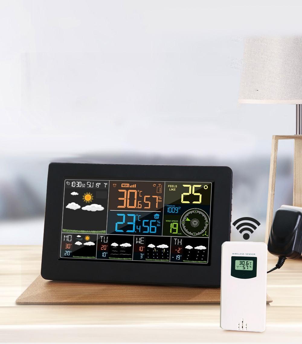 Wifi Mur de La Station Météo alarme numérique Horloge Thermomètre Hygromètre Futures Prévisions Météo Vent Direction Baromètre