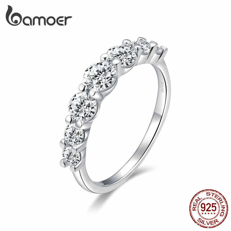 BAMOER Wedding Jewelry Real 925 Sterling Silver Shinning Zirconia Finger Rings for Women Promise Alliance Fine Jewelry SCR475