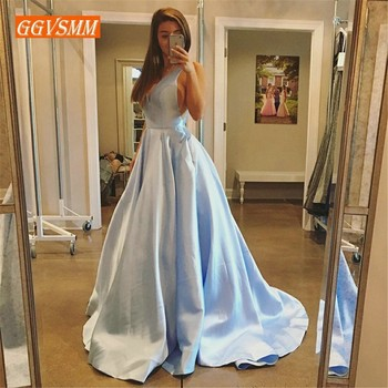 Fashion Silver Long Evening Dress 2019 Formal Dresses Prom V Neck Taffeta Backless Sweep Train Custom Made Laconic Party Gowns