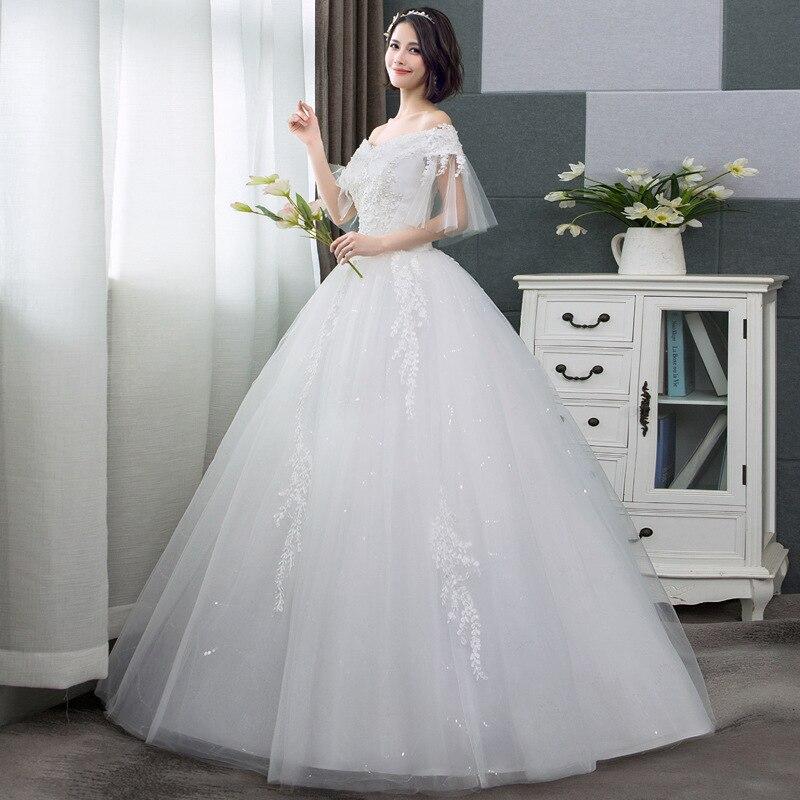 New Arrival Wedding Dresses Short Sleeve Boat Neck Lace Up Appliques Off Shoulder 2020 Elegant Bridal Dresses Vestidos De Novia