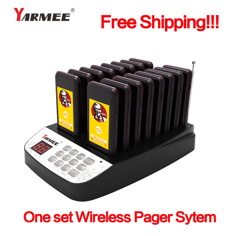 YARMEE 16 PCS Wireless Restaurant Pager Coaster Waiter Paging Queuing System Rechargeable Power cable