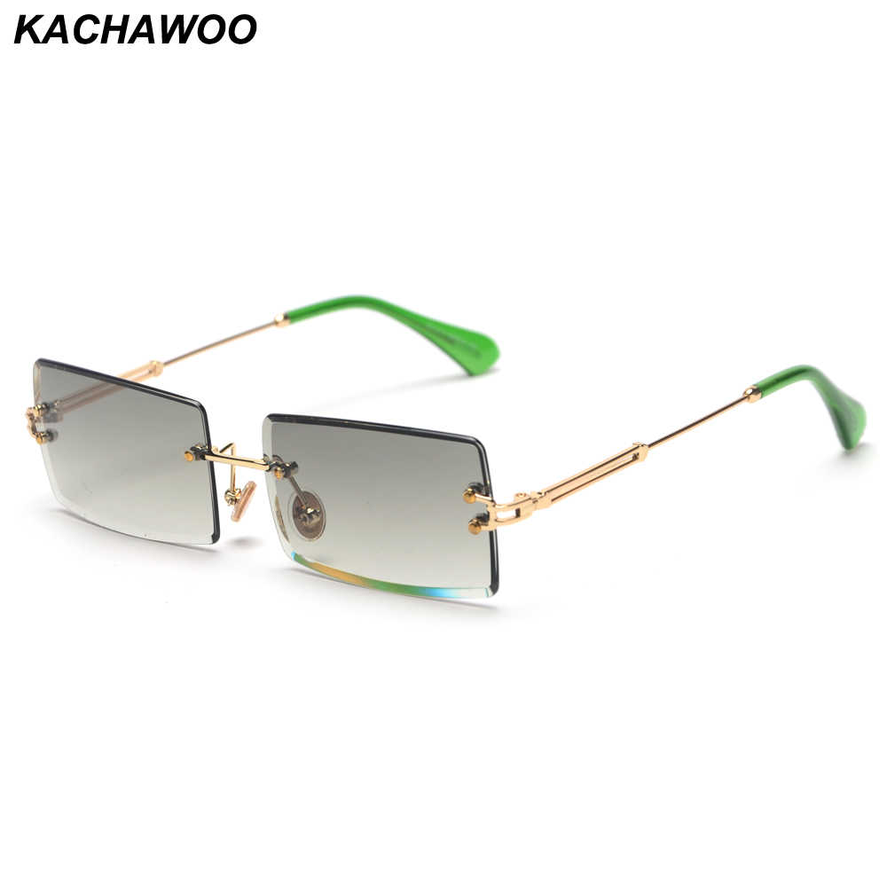 Kachawoo Fashion Rimless Sunglasses Women Accessories 2019 Rectangle Female Sun Glasses Green Black Brown Square Eyewear