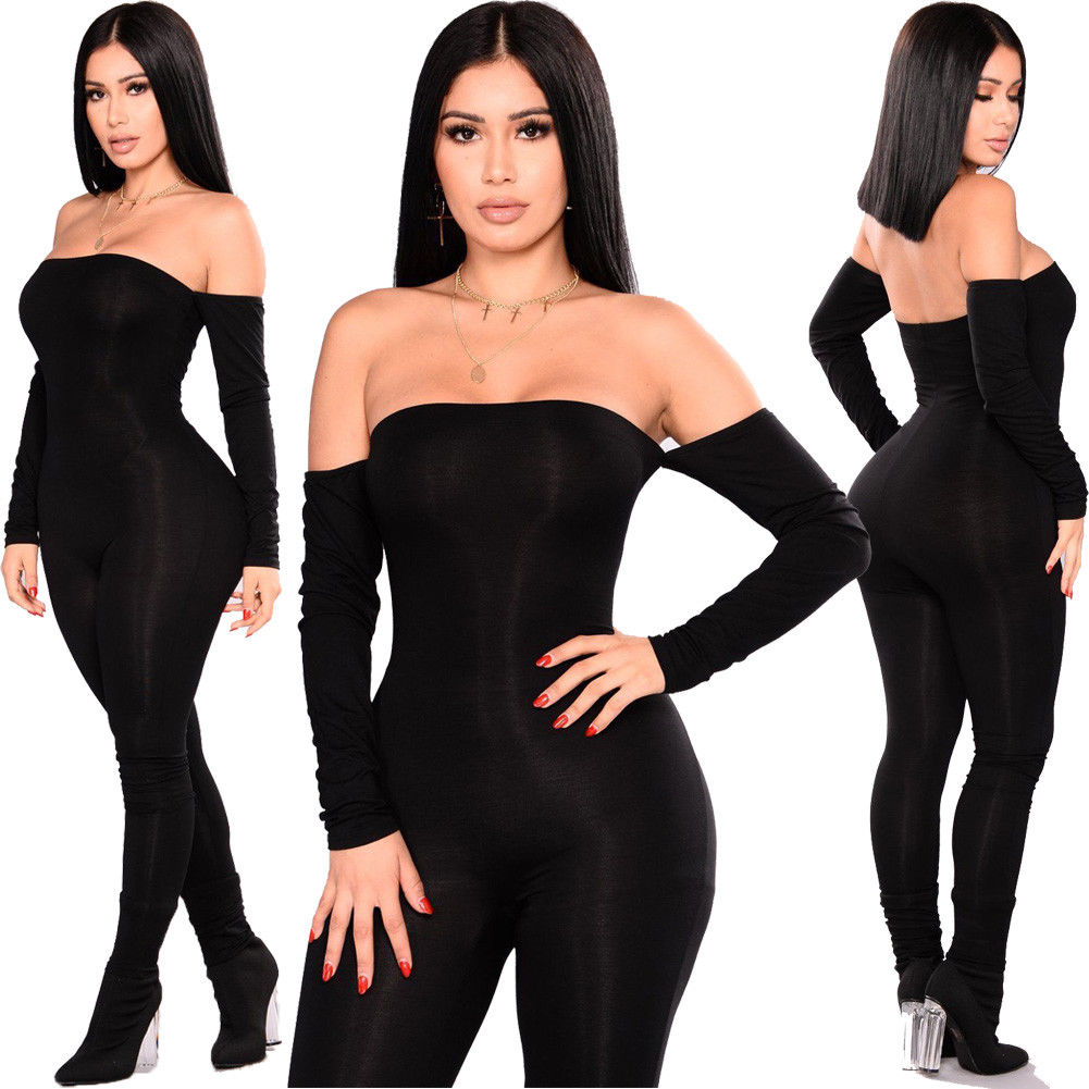 Women Ladies Sexy Slim Black Jumpsuits Clubwear Off Shoulder Long Sleeves Long Trousers Bodycon Romper Fashion Lady Clothes