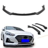 Hybrid Sedan 2018 Front Bumper Lip Spoiler For Hyundai Sonata 2018 Auto Car Accessories ABS Plastic 3PCS Matt Black