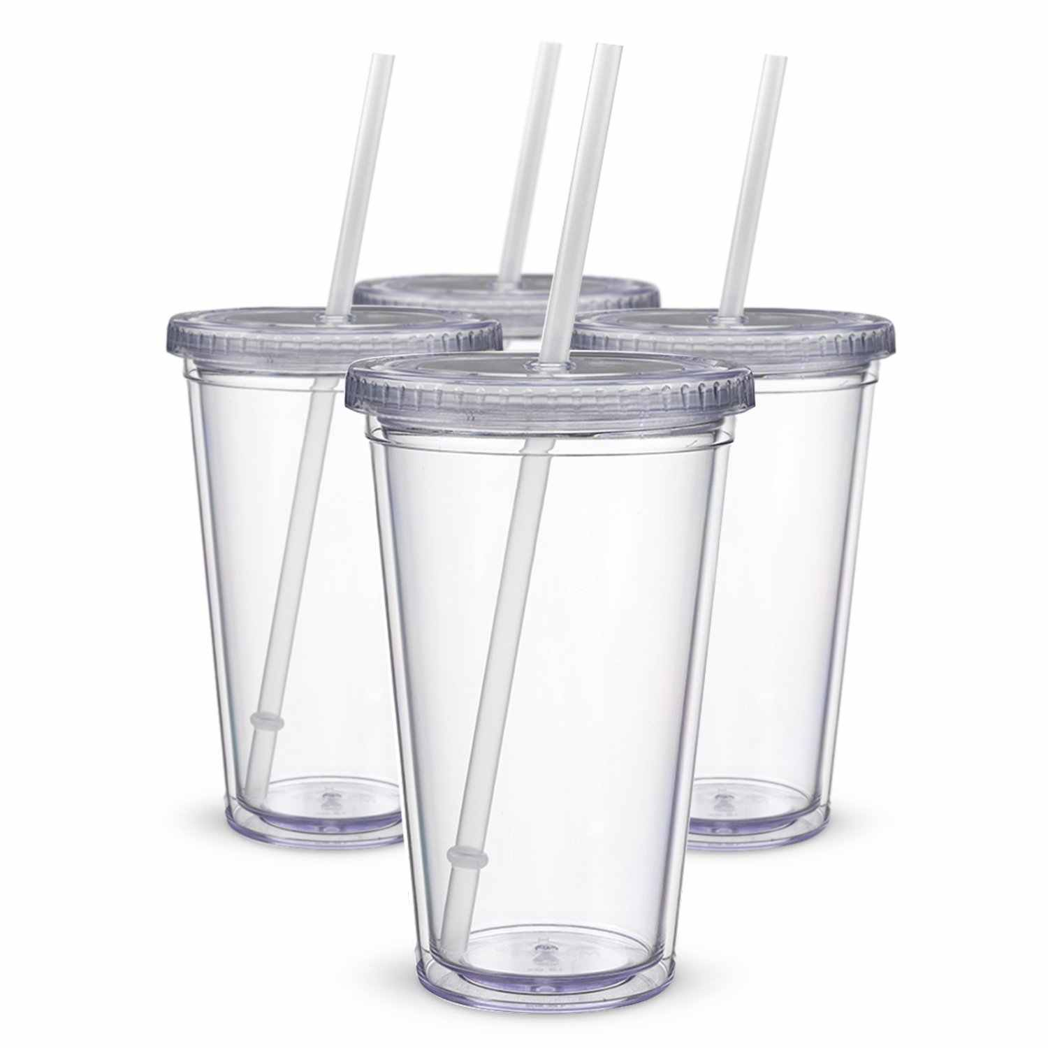 Classic Insulated Tumblers 16 oz. Double Wall Acrylic 4 pack Straw Type Water Bottles Clear Drinking Cups