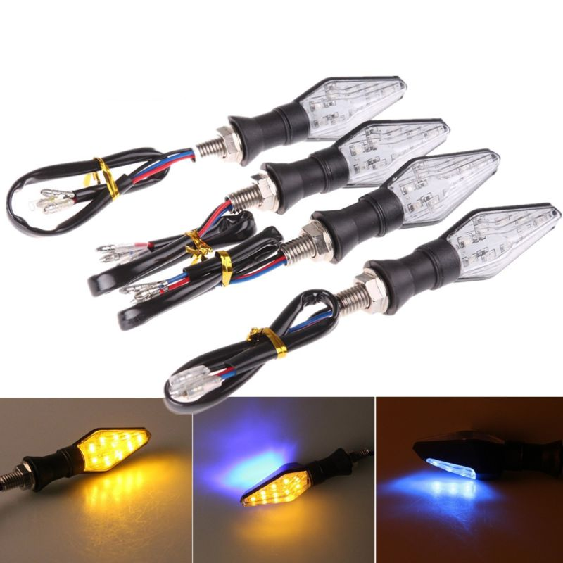 4 Pcs Universal Motorcycle LED Turn Signal Lights 12V Indicators Amber Blinker Light Flashers Lighting 12 LED Amber Light