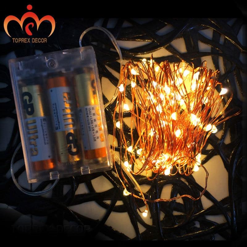 5m / 16.4ft LED koppar ljussträng med 3AA batterilådan fe lampor - Festlig belysning - Foto 3
