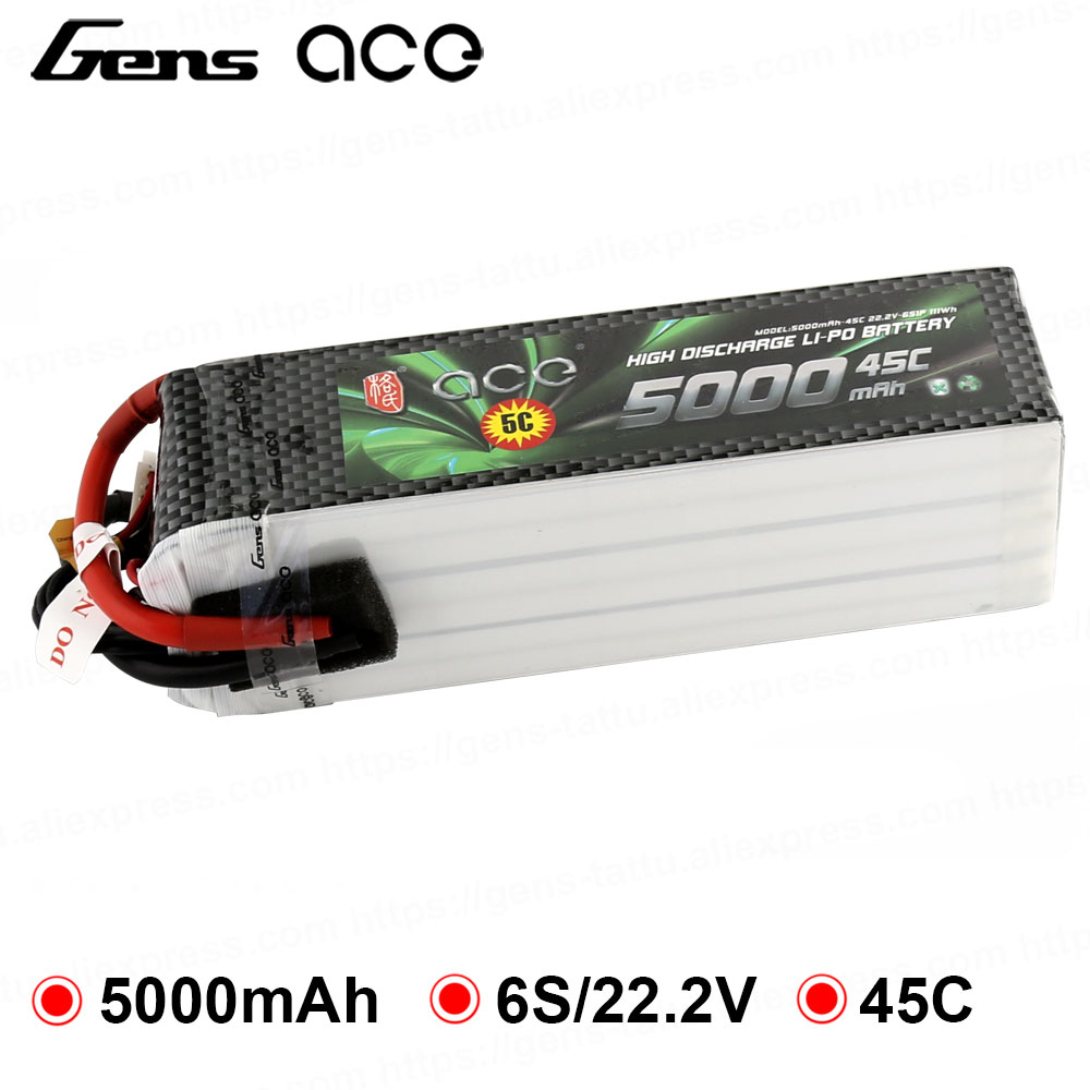 Gens ace <font><b>Lipo</b></font> Battery 22.2V <font><b>5000mAh</b></font> <font><b>Lipo</b></font> <font><b>6S</b></font> Battery Pack 45C for Bigger Sport Aerobatic 3D Helicopter RC Accessories EDF Planes image