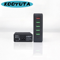 Multi functional charger station Quick Charge 6 ports with 1 type C 4 Ordinary USB 1 QC 3.0 USB max 18W Travel Wall Charger