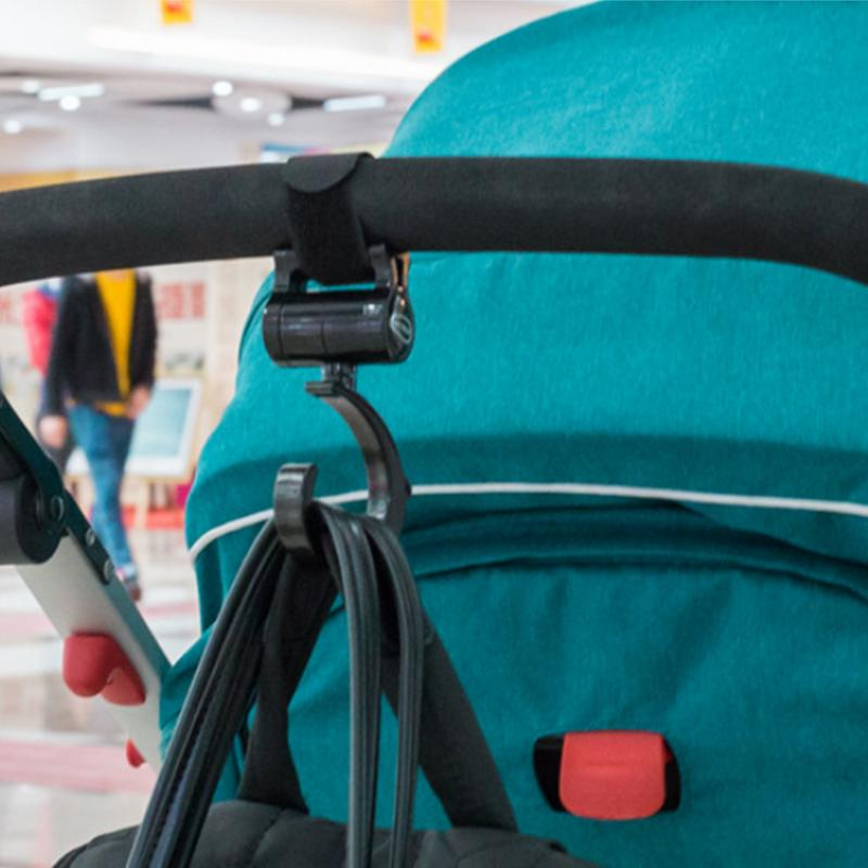 2pcs Stroller Hooks Multi Purpose Stroller Hook Clips On Any Baby Stroller Travel Systems Secure Purses Diaper Bags Shopping Bag