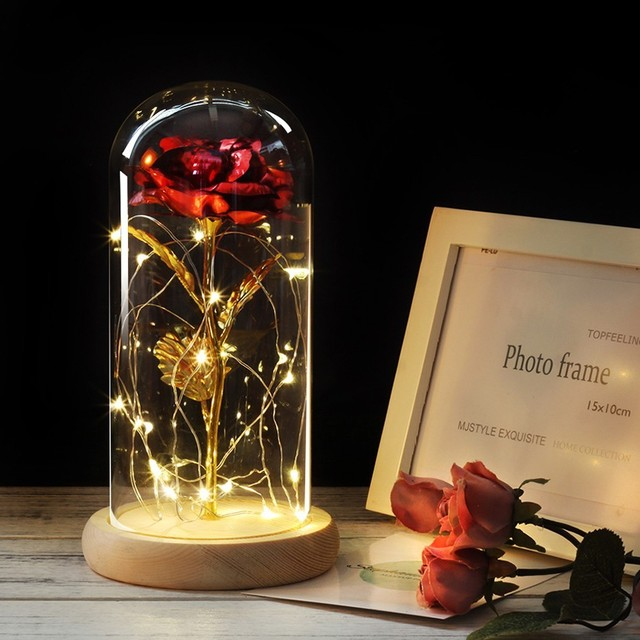6 Colour Beauty And The Beast Red Rose In Flask A Glass Dome On A Wooden Base For Valentines Day Gift LED Rose Lamps Christmas