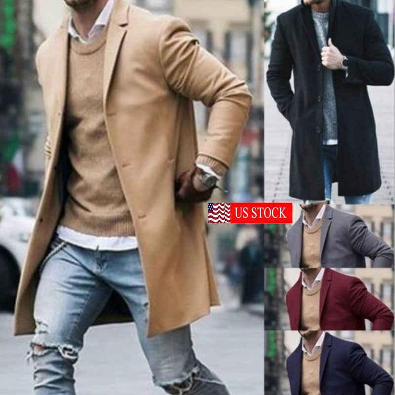 メンズトレンチコート 2018 新ファッションデザイナー男性ロングコート秋冬シングルブレスト防風スリムトレンチコート男性プラスサイズ