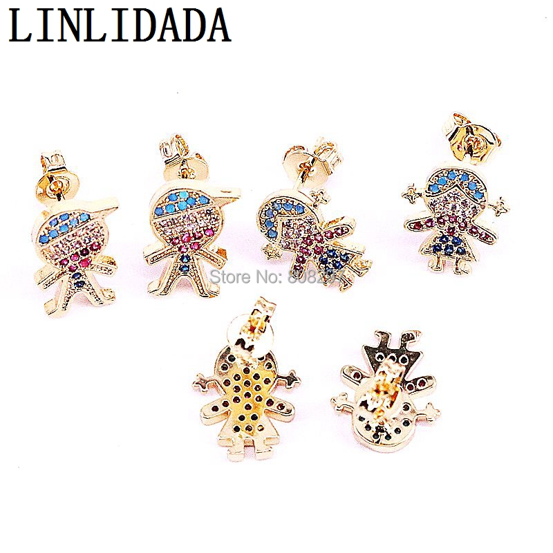 10Pair Gold Color Micro Paved CZ Zirconia Kids Boys Girls Charms stud Earrings