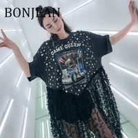 BONJEAN Lace Patchwork Shirt for Women 2019 Summer Clothing Appliques Black T Shirt with Sequin Tops and Tees Long Shirt BJ955