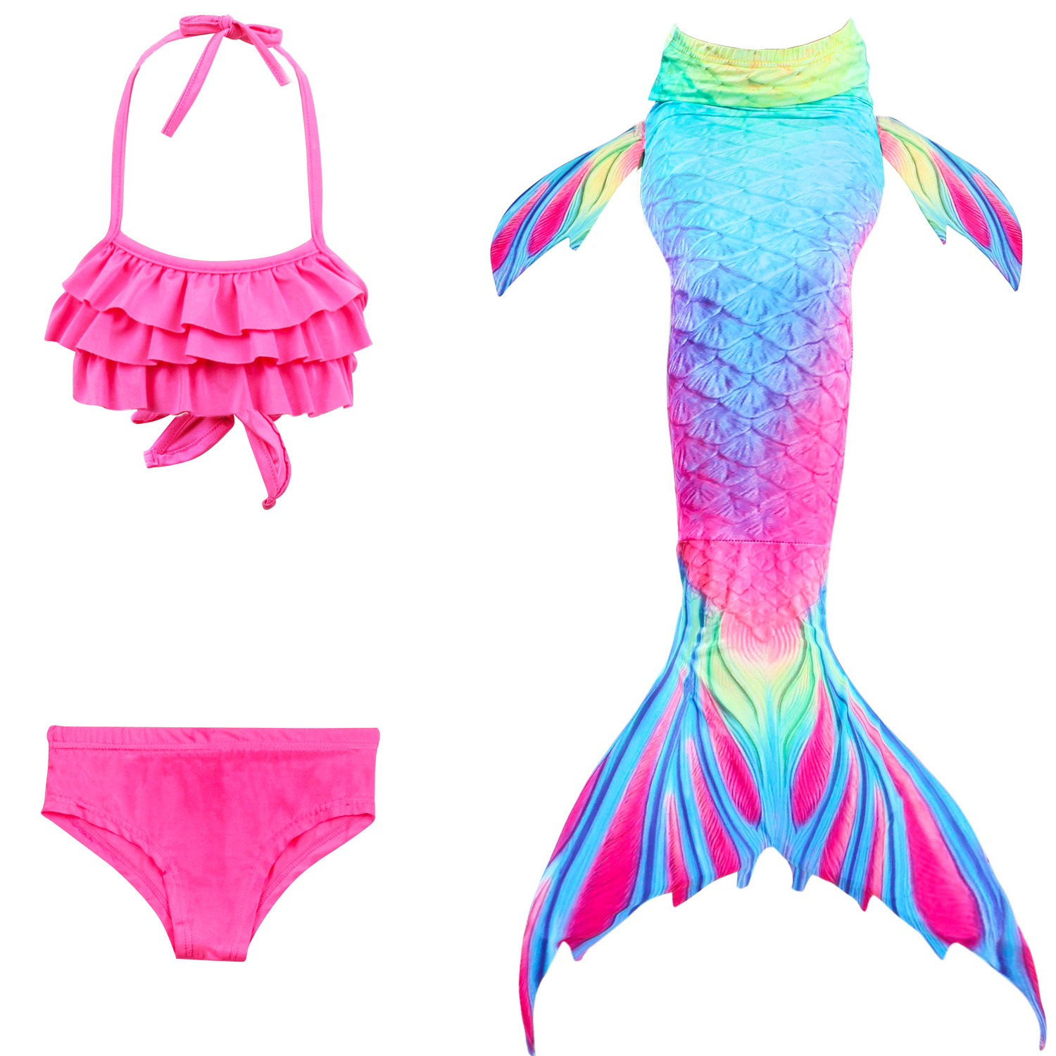 Kids Princess Mermaid Tail Costume Bikini Girls Mermaid Swimsuit Bikinis Girl Mermaid Tail Swimsuit Beach Dress Cosplay