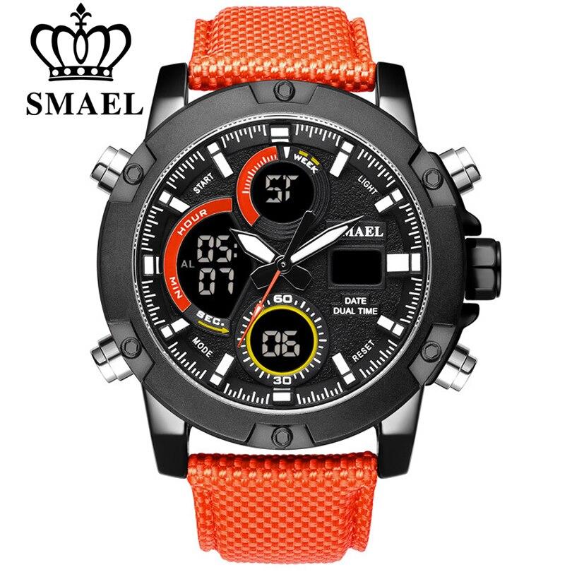 SMAEL New Watches Men Luxury Brand Chronograph Men Sport Watches High Quality Nylon Strap Quartz Wristwatch Relogio Masculin