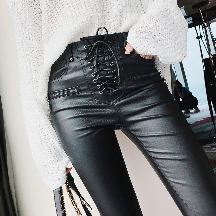 2018 Brand New Women Fashion PU Leather Trousers Lace up High Waist Skinny Pencil Pants Zipper Cuff Faux Leather Winter Pants