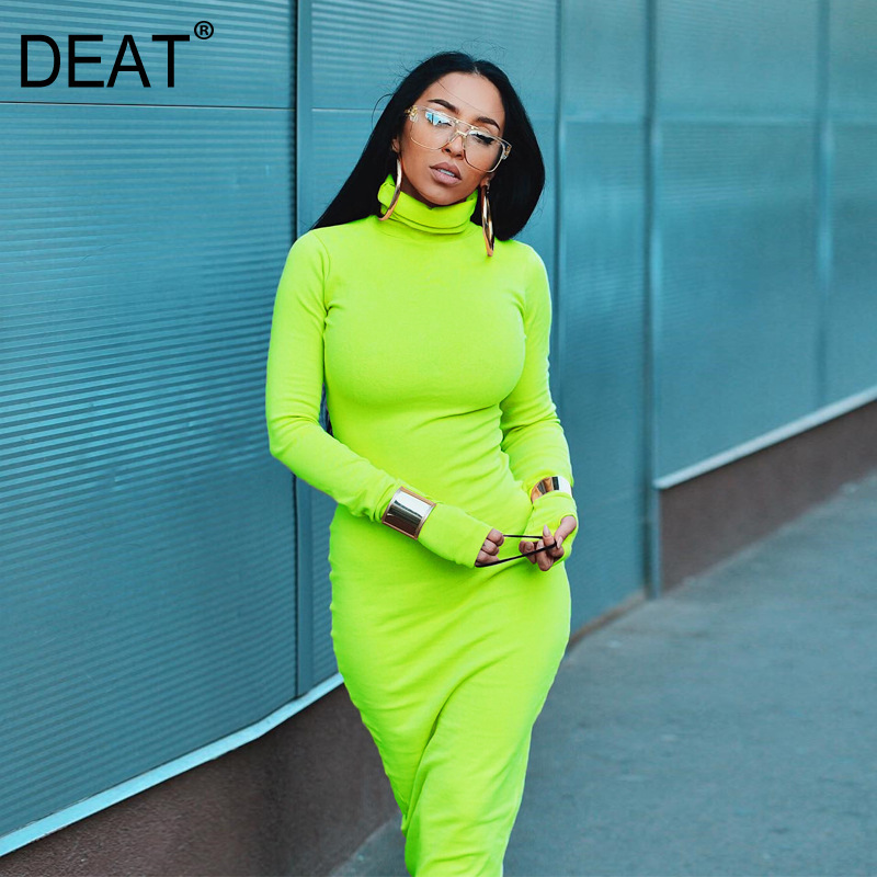 DEAT 2019 new <font><b>spring</b></font> fashion <font><b>women</b></font> clothing turtleneck full <font><b>sleeves</b></font> zippers long elastic <font><b>dress</b></font> <font><b>sexy</b></font> female WE21807L image