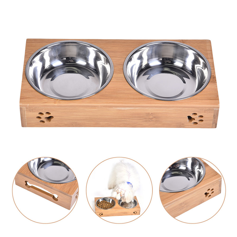 Double Bamboo Bowls Raised Stand Pet Dog Stainless Steel Feeder Food Water Bowl