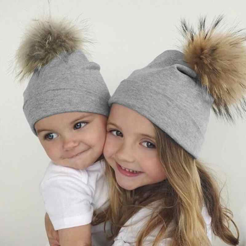 Cute Baby Children Hat Baby Boys And Girls Winter Caps Babys Cotton Faux Fur Pompom Warm Beanie Beautiful Kids Accessories Gifts