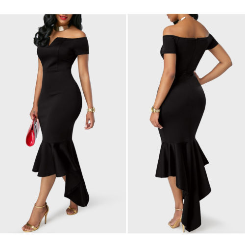2019 Women Evening Party Club Wear Short Sleeve Off Shoulder Ruffle Asymmetric Midi Dress 5