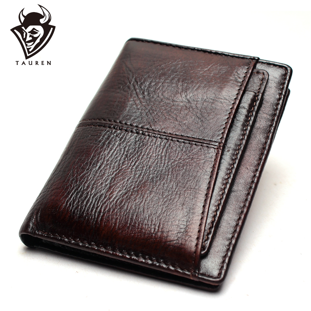 Promo Wallet Vintage Genuine Leather Men's Short Wallet Ultra-Thin Wallet RFID Wallet Credit Card Men's Purse