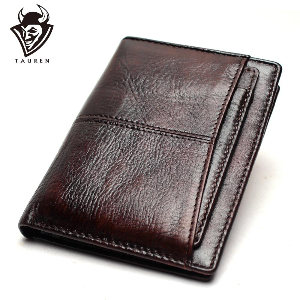 Promo Wallet Vintage Genuine Leather Men's Short Wallet Ultra-Thin Wallet RFID Wallet Credit Card Men's Purse