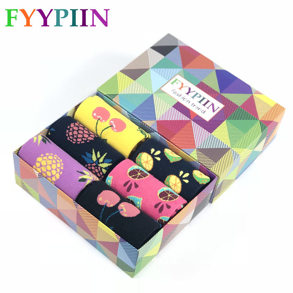 Men Socks 6 Pairs Of Gift Boxes Colorful Combed Cotton Fruit Pattern Series Socks Casual Funny Crew Gifts Happy Socks