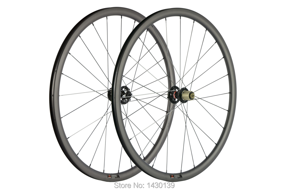 Image 2 - Newest 700C 30mm Road bike matt UD full carbon fibre bicycle wheelset carbon clincher rims 791 792 disc brake hubs Free shippingBicycle Wheel   -