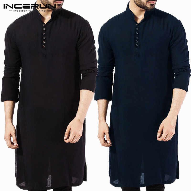 cd1bd253de Nuevo 2019 hombres Kurta Camisas manga larga vestido Kurta islámica camisa  elegante Kaftan traje hombre paquistaní