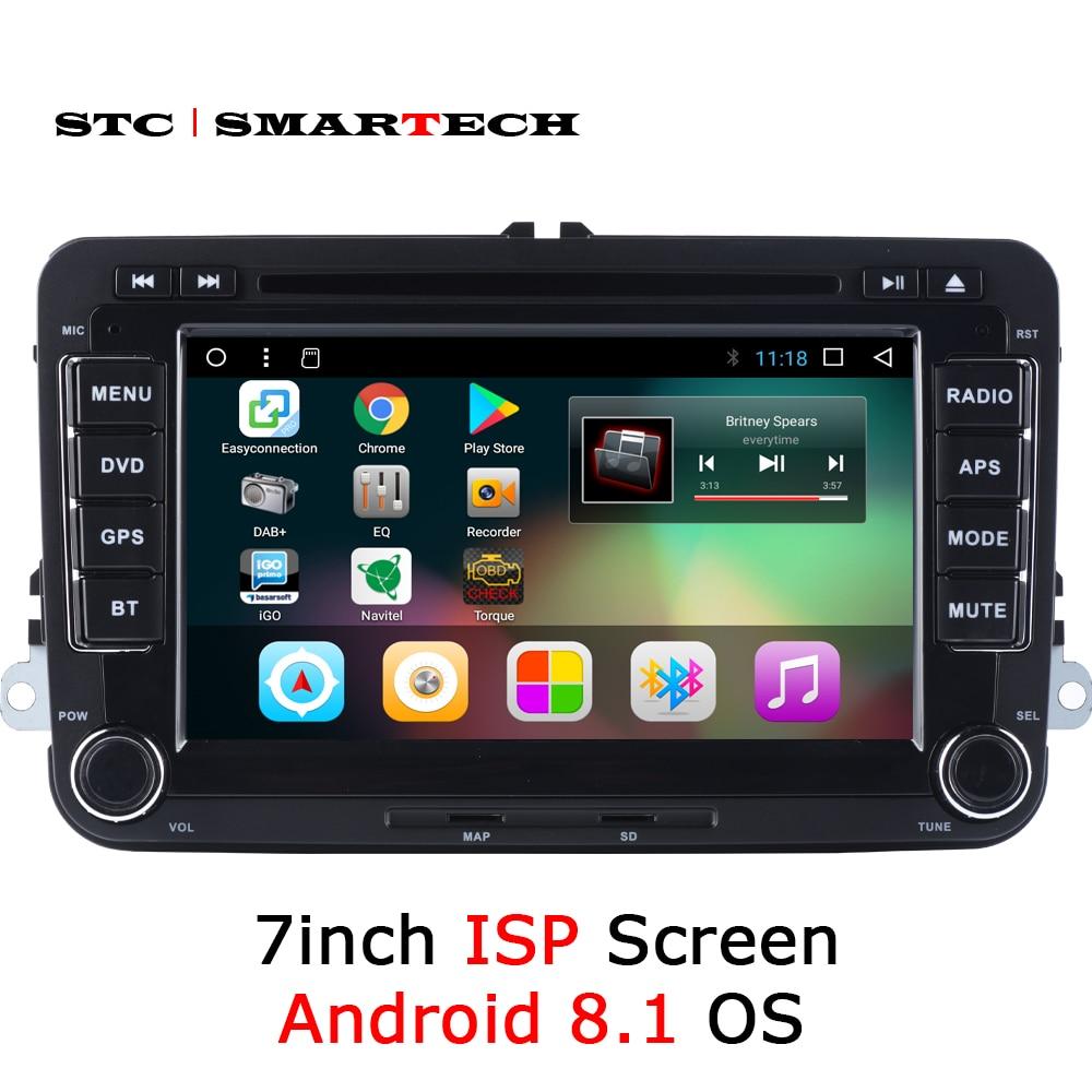 SMARTECH 2 Din Android 8.1 Car Radio GPS Per Il VW Volkswagen Golf/Polo/Tiguan/Passat/b7 /b6/Skoda/SEAT, 7 pollice IPS Schermo Quad Core