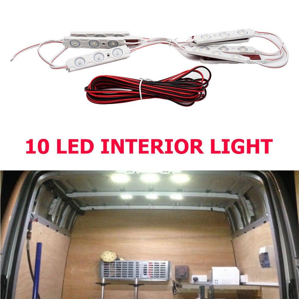 12V Bright White LED font b Interior b font light kit 10 LEDs Light With 5M