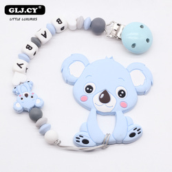 Personal Custom Personalized Pacifier Clip Chain Silicone Koala Pendant Baby Teething Nursing Dummy Clips Chain