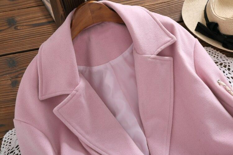 Laine Nouvelle Survêtement Long Femmes Style 8349 Hiver Preppy Manteaux Manteau Rose Orange qxwxBA4