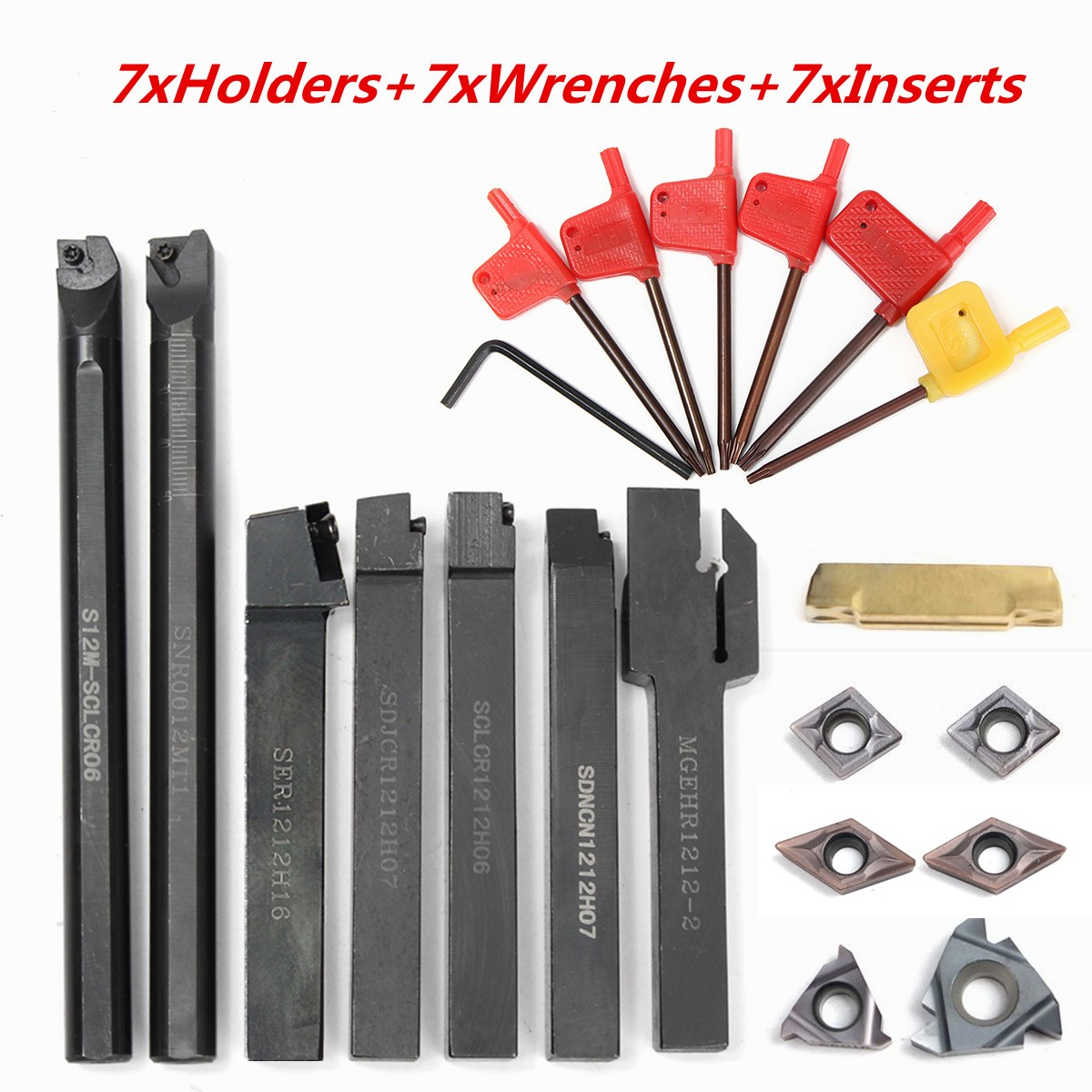 21pcs/set 12MM Lathe Turning Tool Holder Boring Bar+ DCMT CCMT Carbide Inserts + Wrench For Lathe Turning Tool