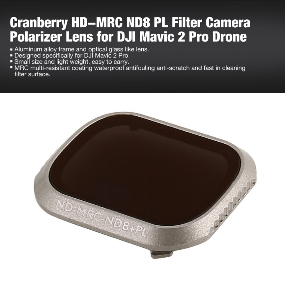Cranberry Adjastable Mini Portable ND8+PL HD Light Reducer Polarizer Lens Filter for DJI Mavic 2 Zoom Drone Camera with Case
