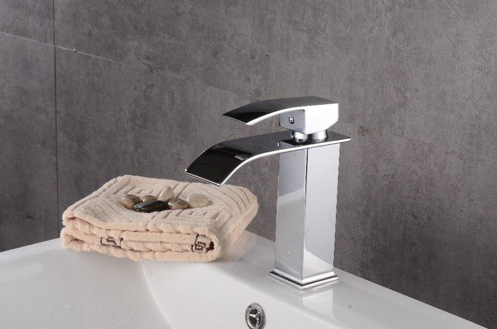 Robinets salle de bains évier bassin en laiton robinet cascade robinet d'eau robinet lavabo moderne mélangeur mitigeur robinets - 6